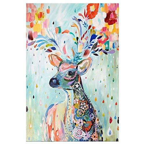 Fun-PT Jigsaw Puzzle Aquarelle Elk 300/500/1000/1500/2000/3000/5000/5700 Pièces for Adultes Fille Enfants, Cadeau d'anniversaire de Noël, Décompression Jouet (Size : 500 pcs)