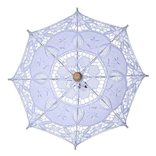 kdjsic Para Mujer Apertura Manual Boda Nupcial Parasol Paraguas Ahueca hacia Fuera Bordado Encaje Color Blanco sólido Accesorios fotográficos románticos con Mango de Madera