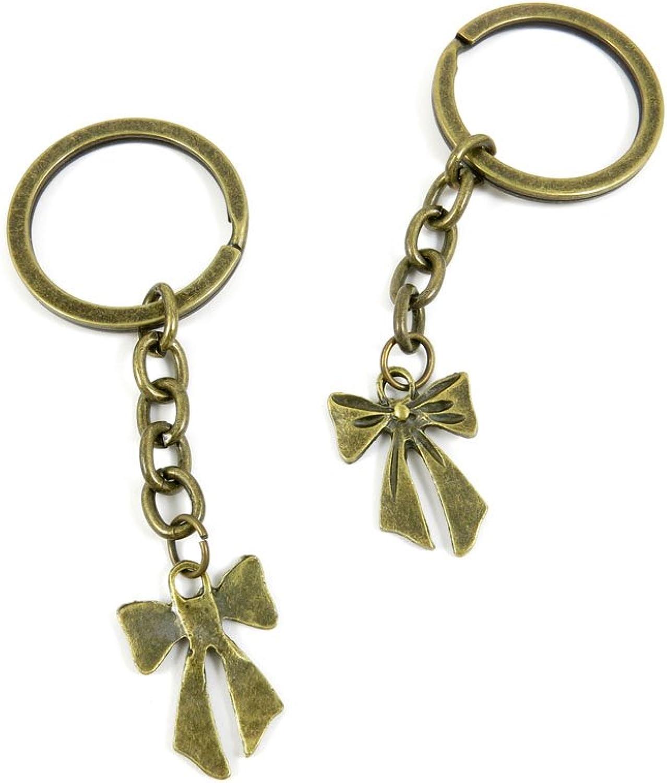 80 PCS Keyring Car Door Key Ring Tag Chain Keychain Wholesale Suppliers Charms Handmade D7UQ1 Bowknot Bowtie