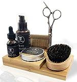 Striking Viking Complete Beard Grooming Kit for Men w/ Upgraded Bamboo Caddy; Beard Oil & Balm, Beard Shampoo, Wooden Comb, Boar Brush, Scissors - Practical & Stylish - Premium Beard Care Kit