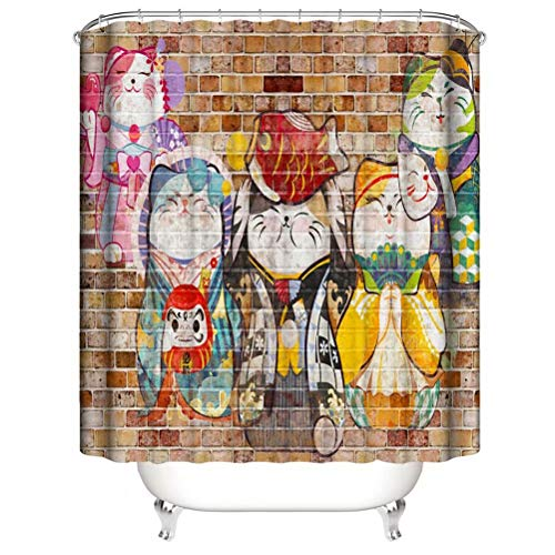 Painting On The Wall. Shower Curtain. Bathroom Accessories. Waterproof. Contains 12 Hooks. Shower Curtain Rod Ring Hook. Background. Party. Living Room.