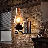GLXLSBZ Aplique de Pared Rústico/Estilo Pasillo Sala de Estar Balcón Pared Kerosene Vintage/Retro Lámparas de Pared y Apliques Metal Industrial Air Glass WA (Iluminación del hogar)