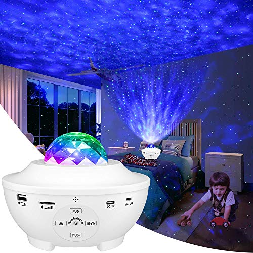 LBELL 「2021最新版&リモコン式」 スタープロジェクターライト ベッドサイドランプ 投影ランプ プラネタリウム Bluetooth/USBメモリに対応 星空ライト 10種点灯モード タイマー機能付き 音声制御 輝度/音量調整可 ロマンチック雰囲気作り クリスマス/ハロウィン/パーテイー飾り/お子さん・彼女にプレゼント/誕生日ギフト 父の日 ギフト