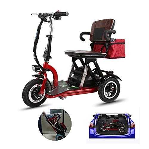 LBRONG Triciclo Eléctrico Portátil/Vespa Eléctrica Plegable/Scooter de Viaje al Aire Libre/Motor De 300 W, Ajuste De 3 Velocidades,Red-8AH