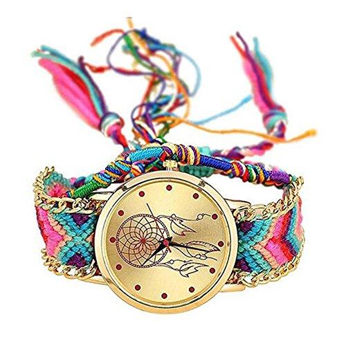 MINILUJIA Atrapasueños Hecho a Mano Pulsera de Las Mujeres Reloj de Pulsera con Libre Colorida Pulsera de Cuerda