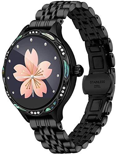 Wasserdichte Smartwatch für Damen, Bluetooth, Bewegungstracker, Herzfrequenz- und Blutdruckmessung, physiologische Perioden-Erinnerung, Silber, Schwarz