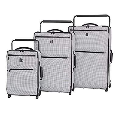 it luggage World's Lightest Los Angeles 3 Piece Set, Black/White 2 Tone