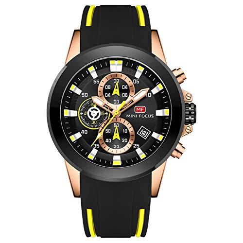 JTTM Cronógrafo Multifuncional para Hombres Luminoso Militar Deportes Al Aire Libre Correa De Silicona Grande Reloj De Pulsera De Cuarzo,Black Yellow