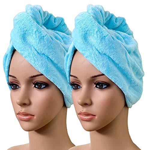2er Set Haarturban hellblau Turban Handtuch mit Knopf Fleece Handtuch Kopfhandtuch für alle Haarlängen