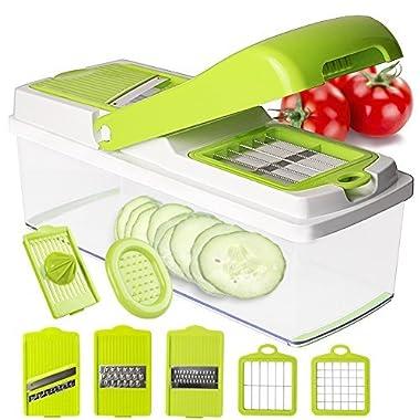 Mandoline Slicer Vegetable Slicer Chopper Dicer - Onion Cutter Chopper Pro - 8 Blades of Squeezer Julienne Slicer Grater -Kitchen Cutter for Multi Veggie, Food, Potato, Tomato, Cucumber, Cheese, Fruit
