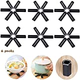 Foldable Silicone Trivet, Hot Mat Trivets for Hot Pots and Pans Non-Slip Silicone Pot Holder, Silicone Trivets for Hot Dishes, Black(6 Packs)