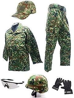 Broptical 一式セット ベルト付 BDU 自衛隊 戦闘服 迷彩服 上下 シューティンググラス ヘルメット グローブ セット S/M/L/XL 自衛隊タイプ サバゲー 装備 コスプレ (L)