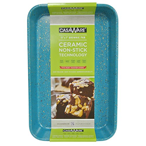 casaWare Toaster Oven Baking Pan 7 x 11-inch Ceramic Coated Non-Stick (Blue Granite)