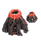 POPETPOP 2 Piezas Falso Volcán Montaña Simulación Pequeño Volcán Modelo Escena Diseño Prop Subacuático Montaña Cueva para Acuario Pecera Decoración