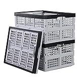 Xowine Caja de almacenamiento plegable de plástico de 28 L, caja de almacenamiento plegable, 3 unidades