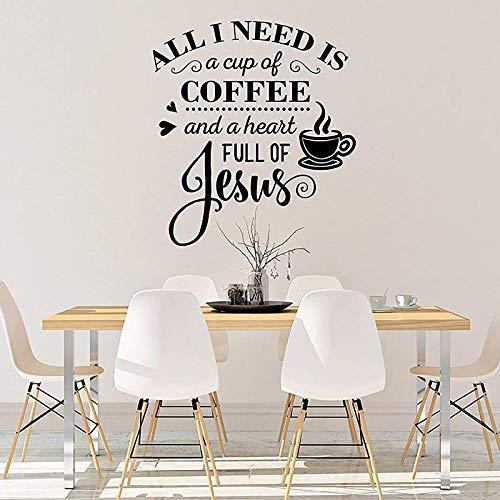 Koffie en Jezus Keukens Koffie Shop Koffie Lover Decal Laural Eetkamers Decor Verwijderbare Vinyl Venster Muursticker 30 * 32cm