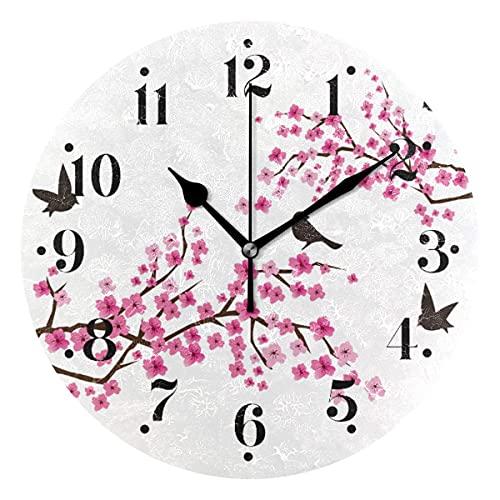 Flor de Cerezo con pájaros Relojes de Pared Funciona con Pilas Reloj de Pared Redondo Decorativo para el hogar de 10 Pulgadas Cocina Dormitorio Sala de Estar Aula Reloj de Oficina