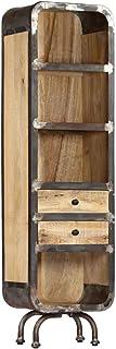 vidaXL - Armario Alto de Madera de Mango Macizo con 2 cajones 4 estantes 40 x 30 x 145 cm