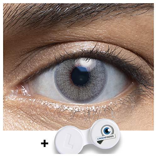 Sehr stark deckende und natürliche graue Kontaktlinsen farbig WHITE ROSE + Behälter MIT STÄRKE von LENSART - 1 Paar (2 Stück) - DIA 14.00 I -2.75 Dioptrien