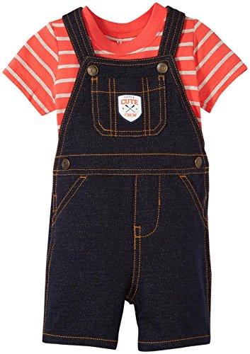 Carters's Kurze Latzhose + T-Shirt Sommer Set Baby Junge Shorts Outfit Boy (0-24 Monate) (6 Monate, rot/schwarz)