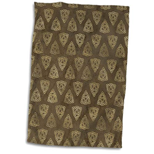 3dRose Towel, Brown and Image of Gold Celtic Knot Triangle Pattern
