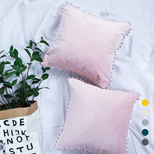 Pom Cushion Covers Pink Velvet Pompom Boho Cushion Cases 18×18IN Set of 2 Pack Soft Baby Pink Trim Fringe Decorative Throw Pillow Covers Couch Sofa Cushion Cover
