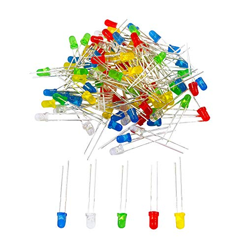 JABINCO 100pcs 3mm LED Light Diodes, Red/Green/Yellow/Blue/White LED Circuit Assorted Kit for Science Project Experiment