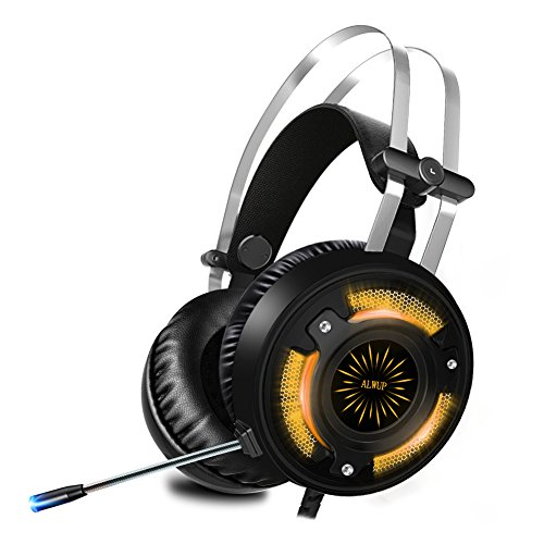ALWUP Gaming Headset PS4, Xbox One Gaming Kopfhörer mit Mikrofon PC Game Headphones mit Bass Surround Anti-Noise und USB LED Licht für Playstation Tablet Nintendo Switch Laptop Computer Mobil
