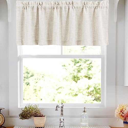 jinchan Linen Floral Printed Valance for Kitchen Living Room Rod Pocket Window Treatments 1 Panel 15 inch Crude and Beige