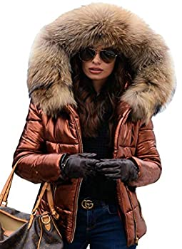 Aofur Womens Ladies Quilted Winter Coat Fur Collar Hooded Down Jacket Parka Outerwear  Large Brown