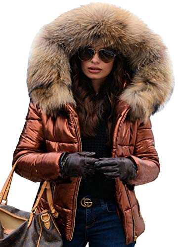 Aofur Womens Ladies Quilted Winter Coat Fur Collar Hooded Down Jacket Parka Outerwear (XXX-Large, Brown)