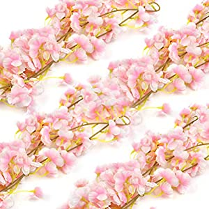 ATPWONZ 4 Pieces 1.8M/5.9FT Artificial Cherry Blossom Flower Vines, Hanging Silk Flowers Garlands, Fake Cherry Flower Wreath for Decoration of Wedding, Party, Garden, Arch, Wall, Home Decor