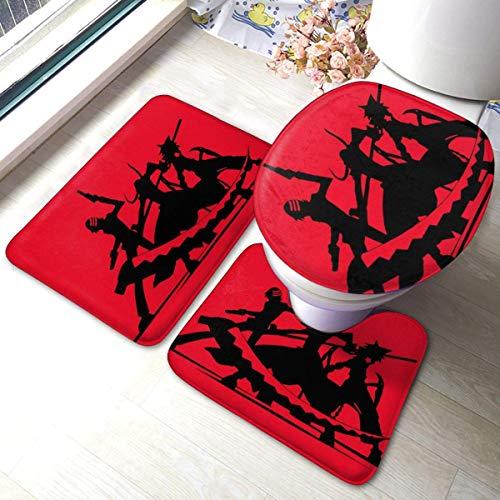 qimingshajinzhubaoshangxing Heavenly Battle - Juego de 3 alfombrillas de baño para bañera y toallas absorbentes de baño y alfombrillas antideslizantes + almohadillas de contorno + tapa de inodoro