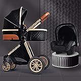 Cochecitos y sillas de nacimiento desde el nacimiento, sistema de viaje 3 en 1 cochecito de cochecito con mochila de bolsa de pañales, alta paisaje antispandeo bebé niño shillchair Reverse