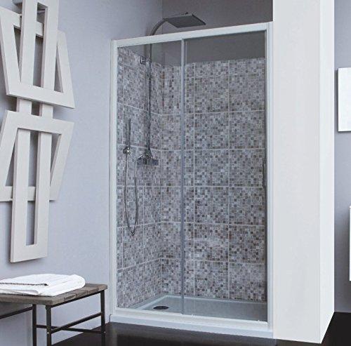 Mampara de ducha 2 paneles: fijo + puerta deslizante vidrio seguridad 4 mm antical altura 195 cm: Amazon.es: Bricolaje y herramientas