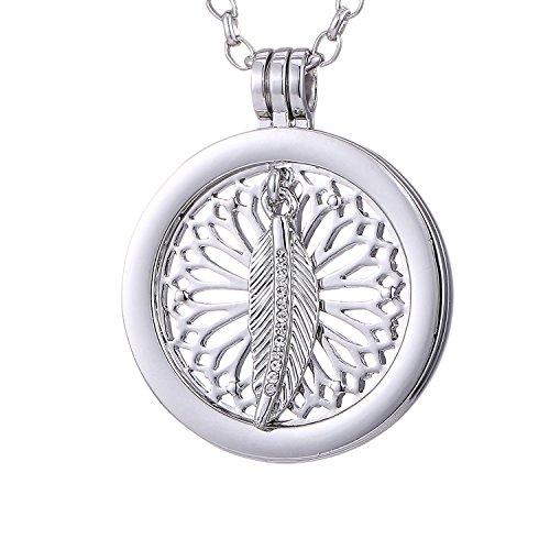 Morella Mujeres Collar 70 cm Acero Inoxidable y Colgante Amuleto Coin 33 mm atrapasueños-Pluma de Buena Suerte de Color Plata para Damas, en Bolsa para Joyas