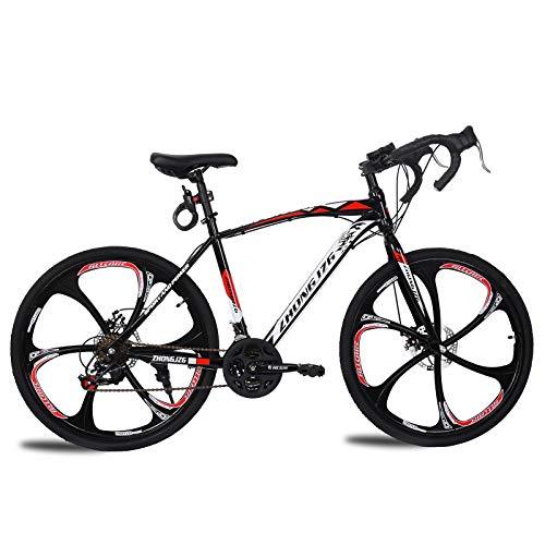 TOUNTLETS 700c Road Bike City Commuter Bicycle with 21 Speeds Drivetrain, Mens/Womens Hybrid Road Bike Aluminum Full Suspension Road Bike for Intermediate to Advanced Riders