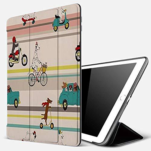 Carcasa con Magnetic Auto-Sueño,Perros divertidos conduciendo bicicleta dálmata Bulldog Skateborading Schnauzer Motor Bull T,Ligéra Protectora Suave Silicona TPU Smart Cover Case para iPad 5./6.