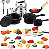 34 Pieces Dollhouse Miniature Metal Pots and Pans Mini Dollhouse Kitchen Cookware Mini Simulation Vegetable and Fruit Sets for Adults Children Pretend Play Kitchen Cooking Game Birthday Party Present