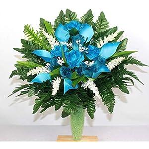 turquoise roses cemetery arrangement for mausoleum silk flower arrangements