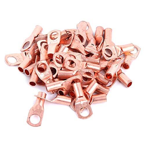 50 piezas de terminal de anillo de cobre, terminales de terminal de anillo de cobre de batería, terminales de conectores de crimpado prensados en frío, terminales sc6‑6