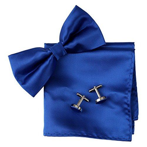 Label-Cravate Noeud papillon bleu-roi, pochette costume et boutons de manchette