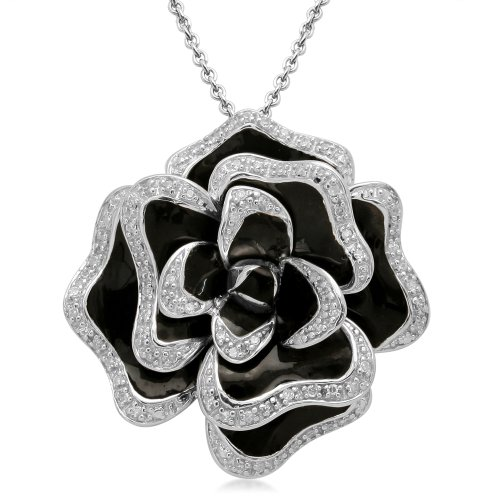 Jewelili Sterling Silver with Black Enamel Rose Pendant (1/4 Cttw, IJ Colour, I3 Clarity), 18