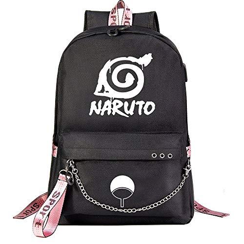 MUATE Anime Naruto USB Mochila Unisex Mochilas Escolares Mujeres Hombres Portátil Grande