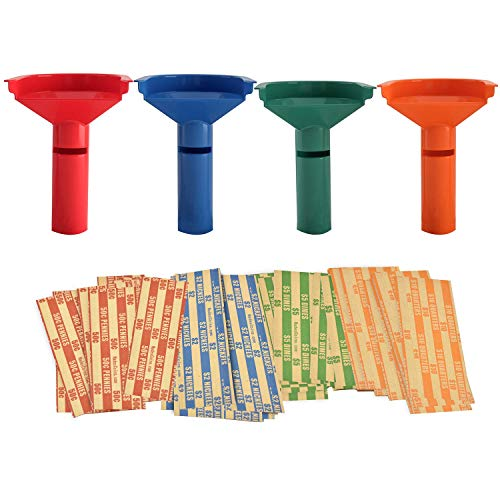 252 Coin Wrappers with Coin Sorter Tubes - Funnel Shaped Color-Coded Coin Counter Stacking Roll Sorting Tubes