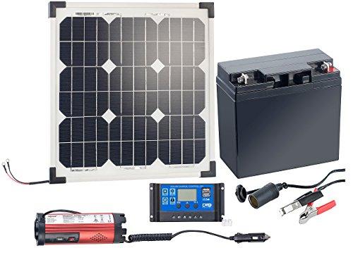 revolt Solaranlagen: Solarpanel (20 W) mit Akku, Laderegler und 230-V-Wandler (Solaranlage Set)