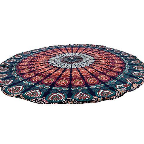 Tapicería de Playa Redonda Hippie/Estilo Bohemio Mandala Manta de la Playa, Toalla de Playa, Toalla de Playa de Estilo étnico (diámetro 150 cm)