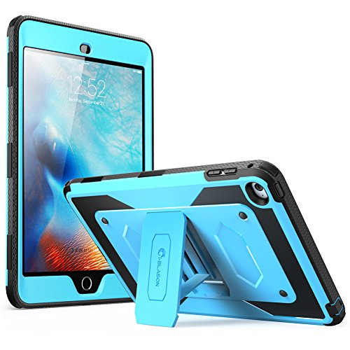 i-Blason Case Designed for Apple iPad Mini 4 2015, Armorbox [Dual Layer] Hybrid Full-Body Protective Kickstand Case with Front Cover and Built-in Screen Protector/Bumpers (Blue)