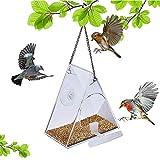 LWZko Comedero Pájaros para Ventana, Pájaros para Ventana Cristal Acrílico, Transparente Forma Triángulo Casa de Pájaros con Ventosa y Bandeja Semillas Cadena y Colgante para Observación Aves