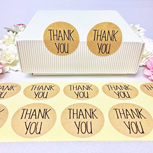 creve Thank you ありがとう 600枚 3cm 円型 ラッピング ラベル ステッカー ギフトシール おしゃれ シンプルフォント 業務用 (クラフト色)